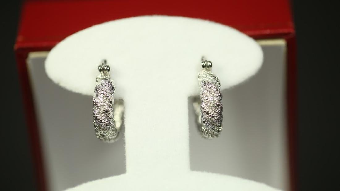 (169) DIAMOND HOOP EARRINGS
