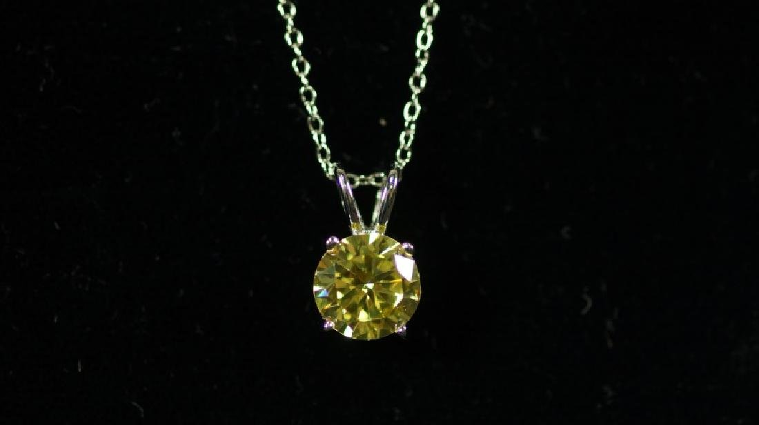 (186) ROUND CUT YELLOW SAPPHIRE NECKLACE - 2