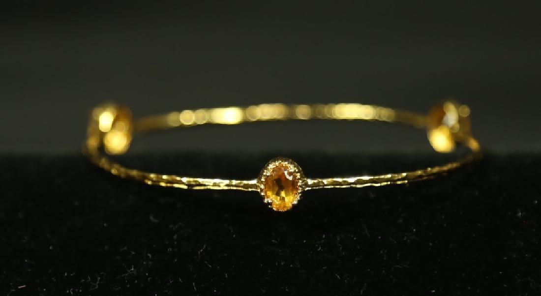 GOLD WASH & CITRINE BANGLE BRACELET
