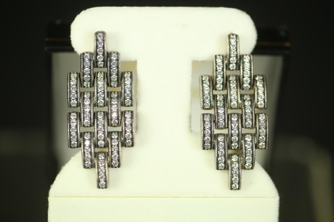 (200) WHITE TOPAZ ESTATE EARRINGS - 2