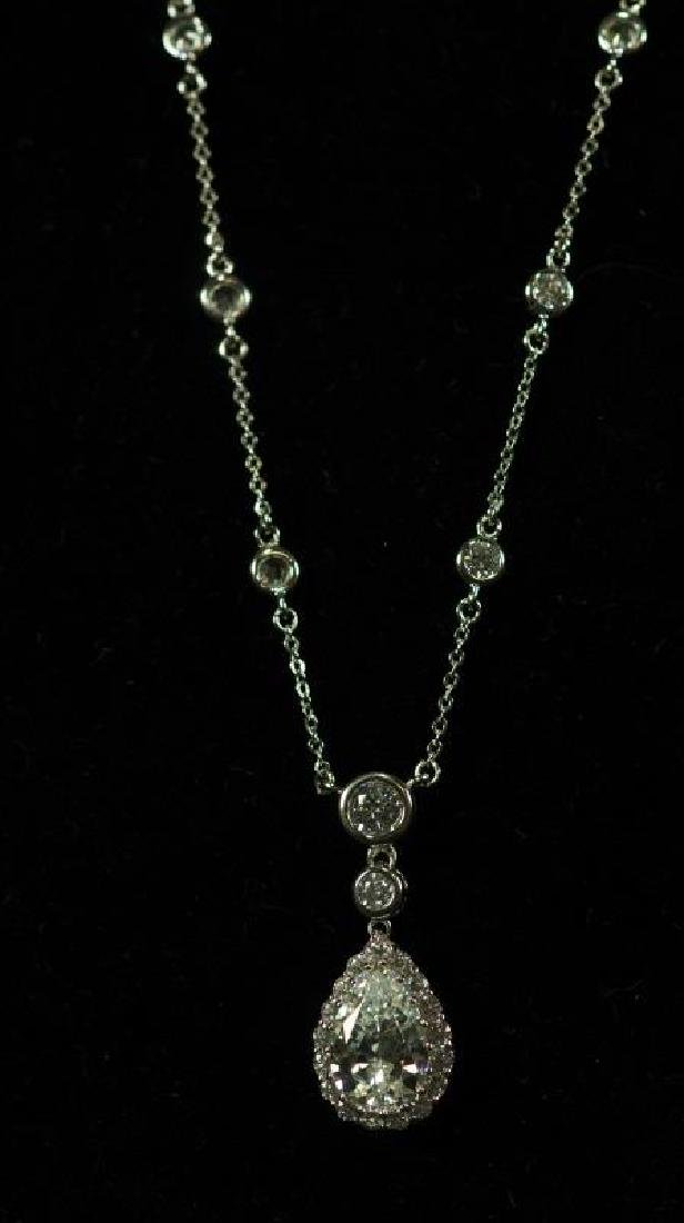 (5E) PEAR CUT 5 Ct. WHITE SAPPHIRE DINNER NECKLACE