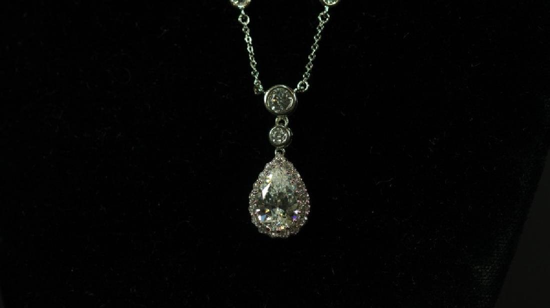 (5E) PEAR CUT 5 Ct. WHITE SAPPHIRE DINNER NECKLACE - 2