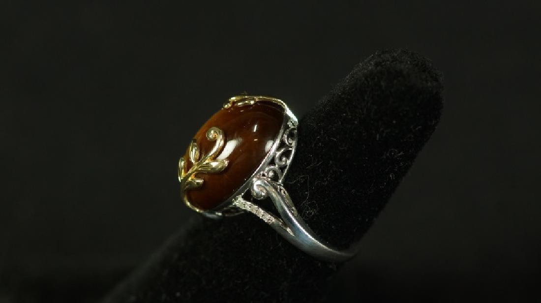 (20E) 14 Kt./S.S. TIGER EYE & DIAMOND ESTATE RING - 2
