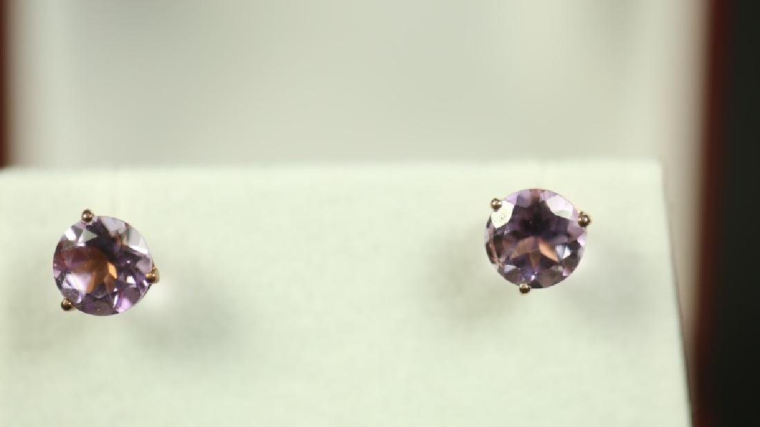 (50E) ROUND CUT AMETHYST DINNER EARRINGS