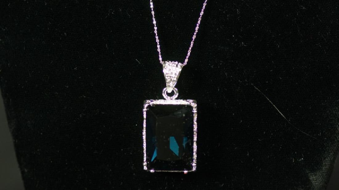 (60B) 8 Ct. LONDON BLUE TOPAZ DINNER NECKLACE - 2
