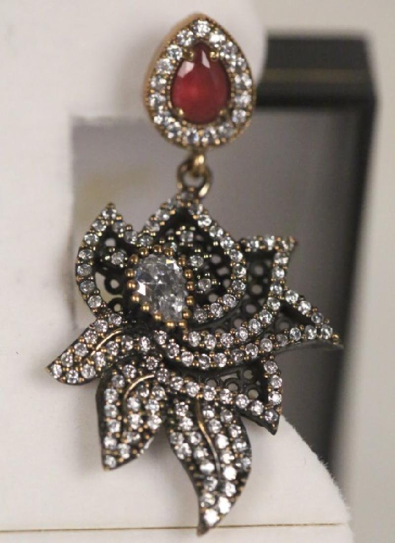 PAIR OF GENUINE RUBY ESTATE EARRINGS - 2