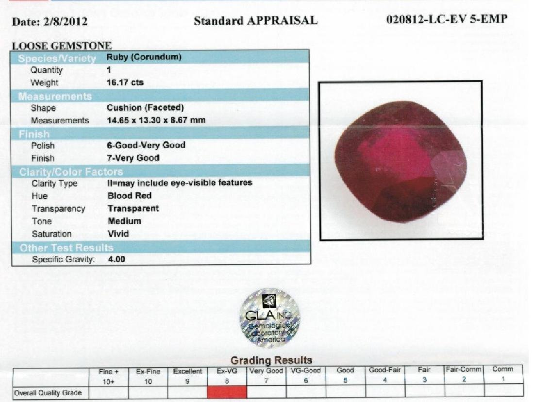LOOSE STONE CUSHION SHAPED RUBY TOTALING 10.03 CTS