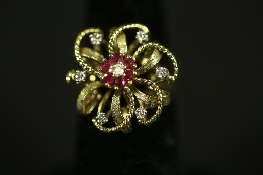 "(5). A stamped ""14 kt"" Yellow-gold Ruby and Diamon"