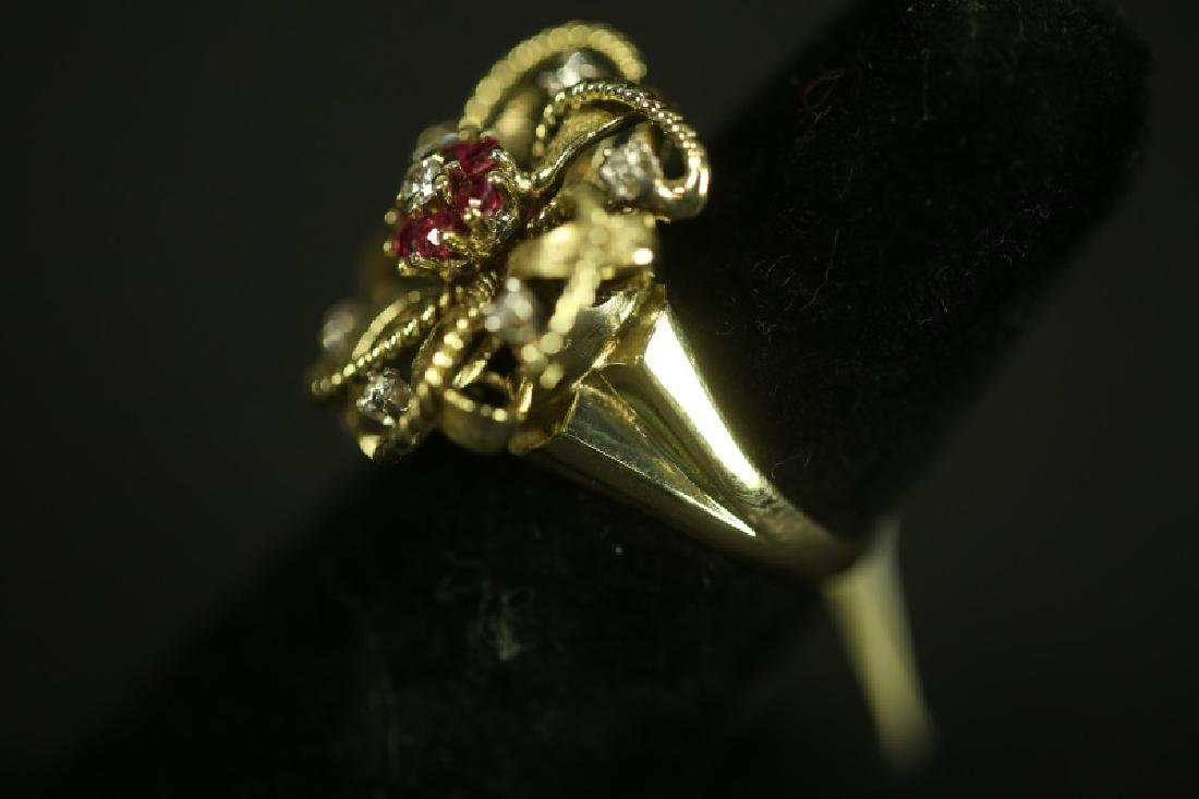 "(5). A stamped ""14 kt"" Yellow-gold Ruby and Diamon - 2"