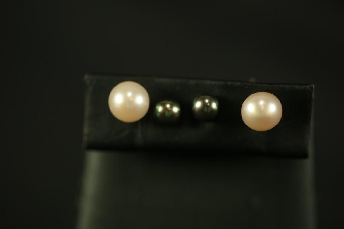 (20) A 14kt. set of 2 pairs of Pearl Earrings. One