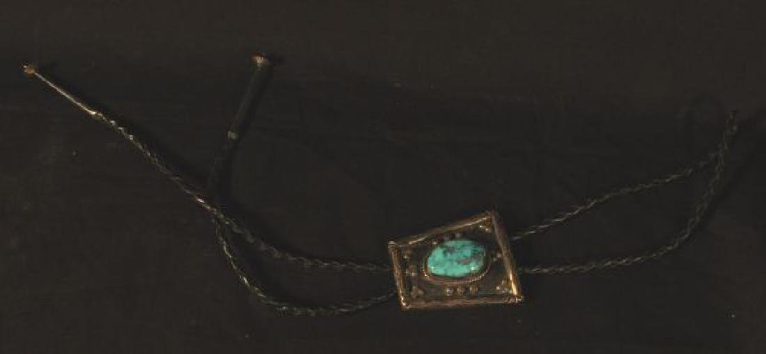 SILVER AND TURQUOISE NATIVE AMERICAN BOLO