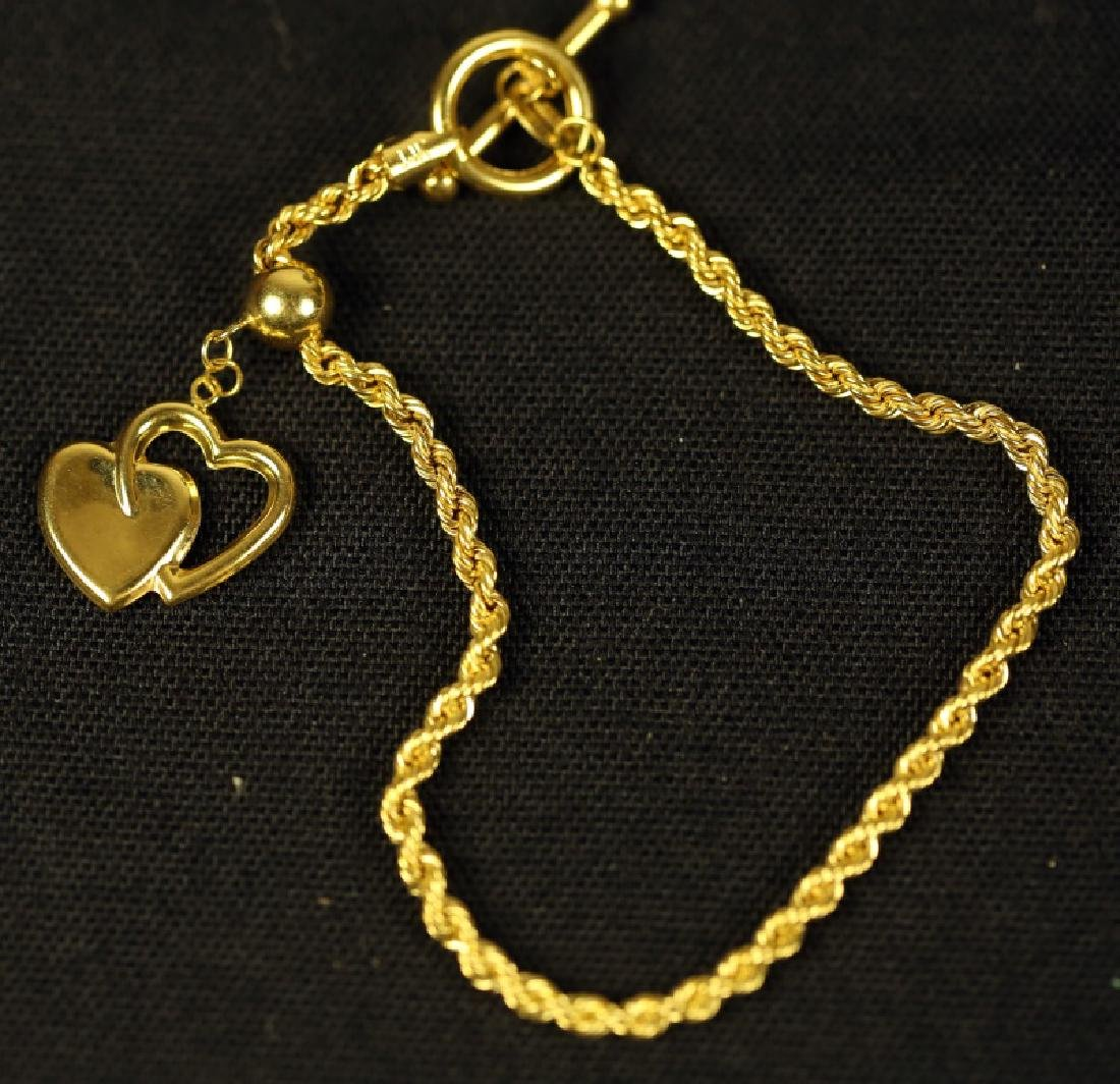 14KT YELLOW GOLD ROPETWIST BRACELET WITH HEART