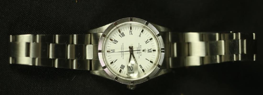 MENS ROLEX DAY DATE STAINLESS STEEL WATCH