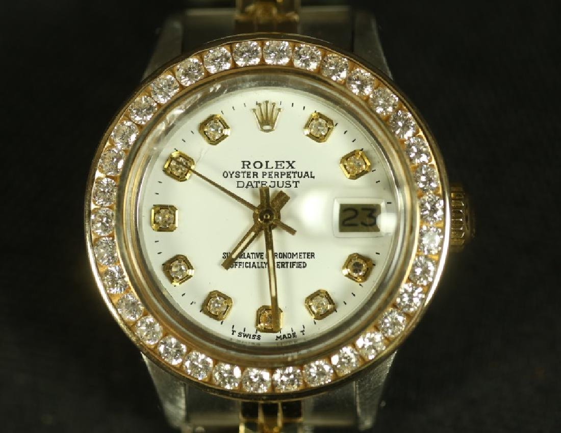 LADIES SILVER AND GOLD ROLEX WITH DIAMOND BEZEL - 2