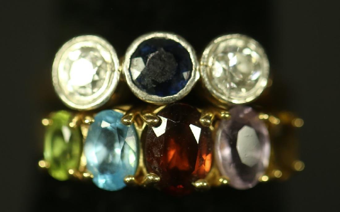 LOT OF TWO RINGS , 14 KT DIAMONDS AND SAPPHIRE