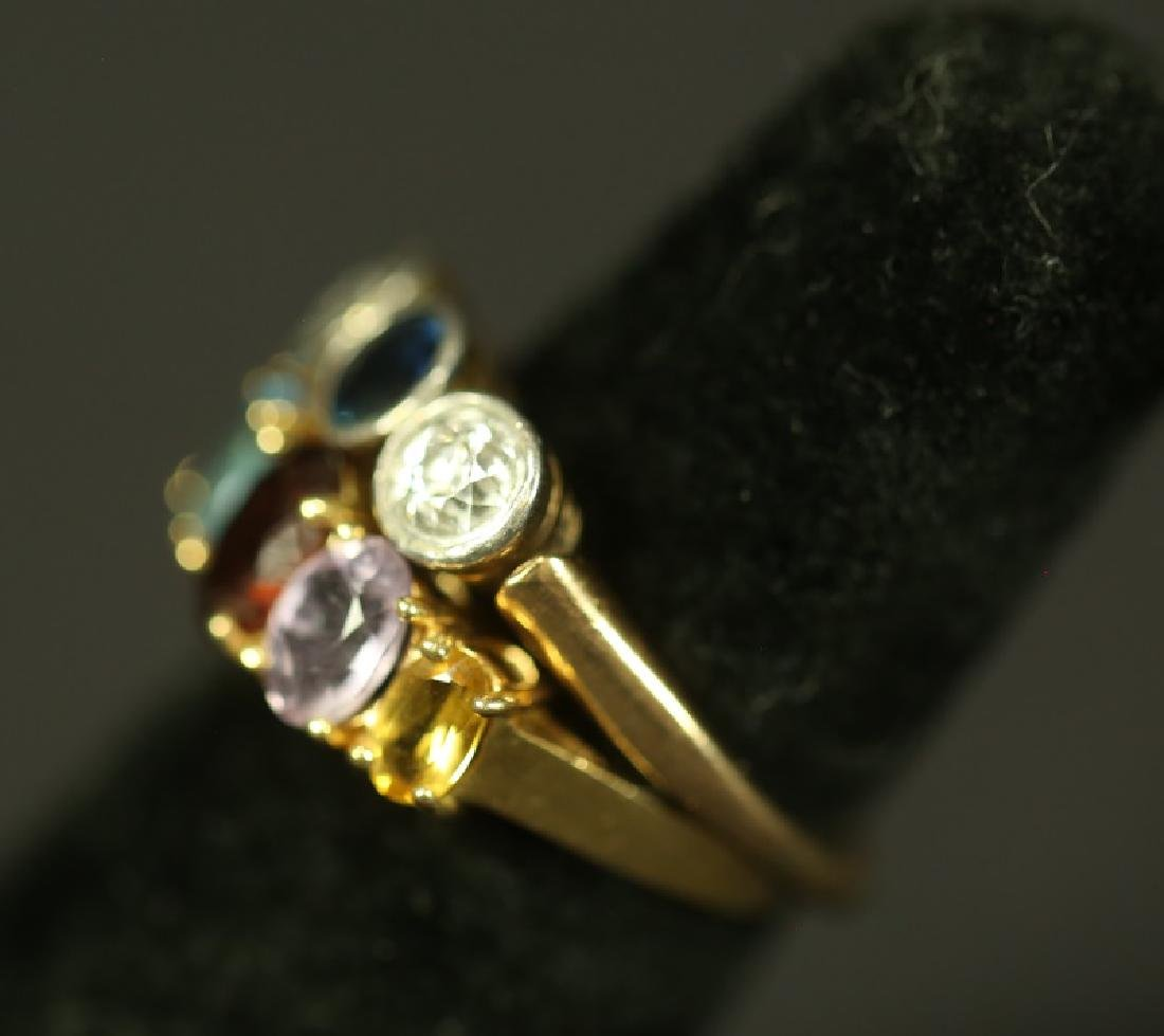 LOT OF TWO RINGS , 14 KT DIAMONDS AND SAPPHIRE - 2