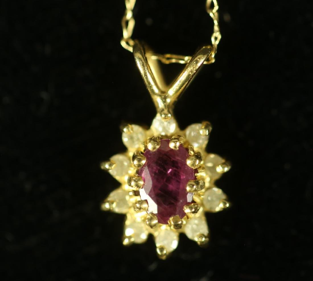 14 KT GOLD WITH RUBY DROP PENDANT