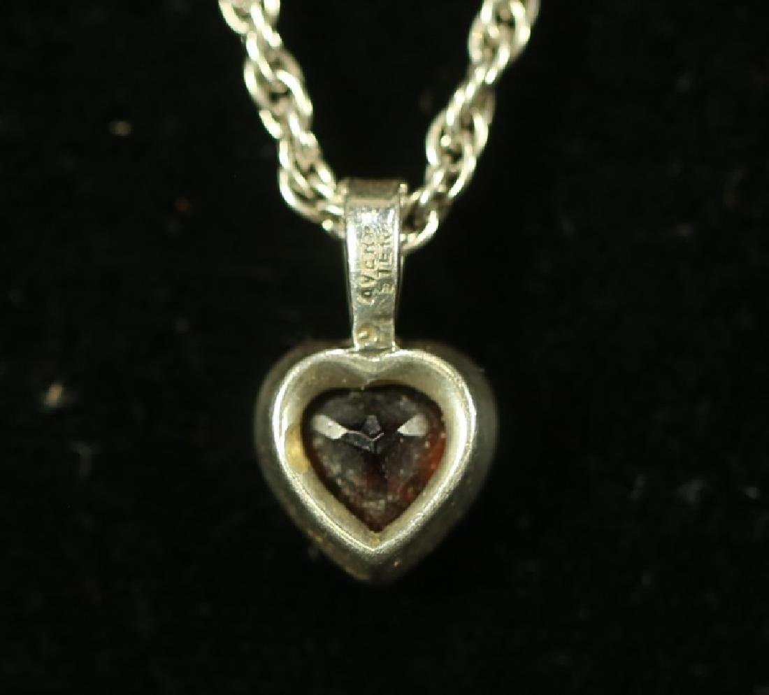 STERLING SILVER AND GARNET HEART NECKLACE - 2