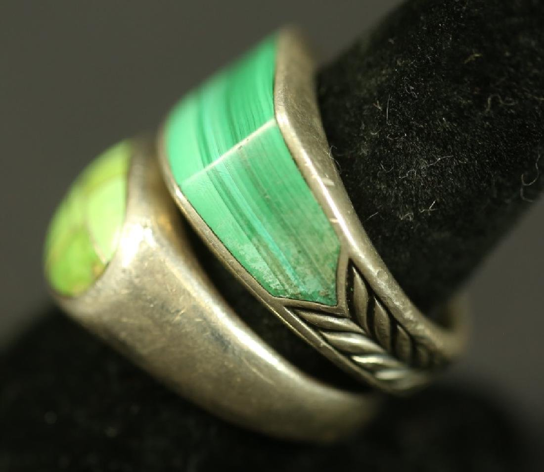 TWO SILVER AND TURQUOISE RINGS - 2
