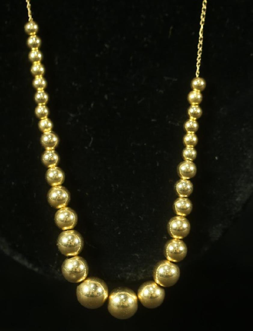 14 KT GOLD BEAD NECKLACE - 2