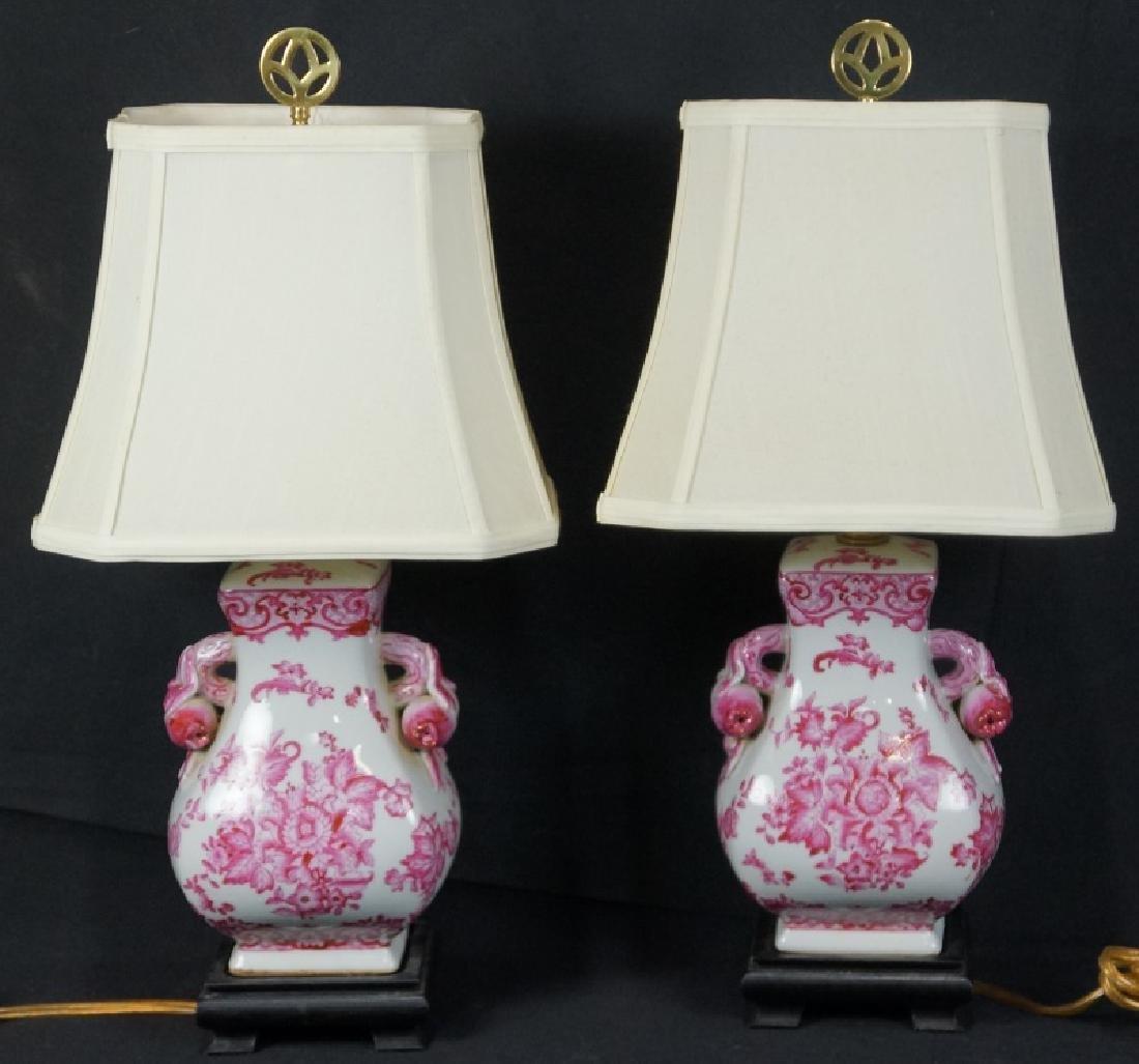 PAIR OF ASIAN PORCELAIN TEMPLE JAR LAMPS