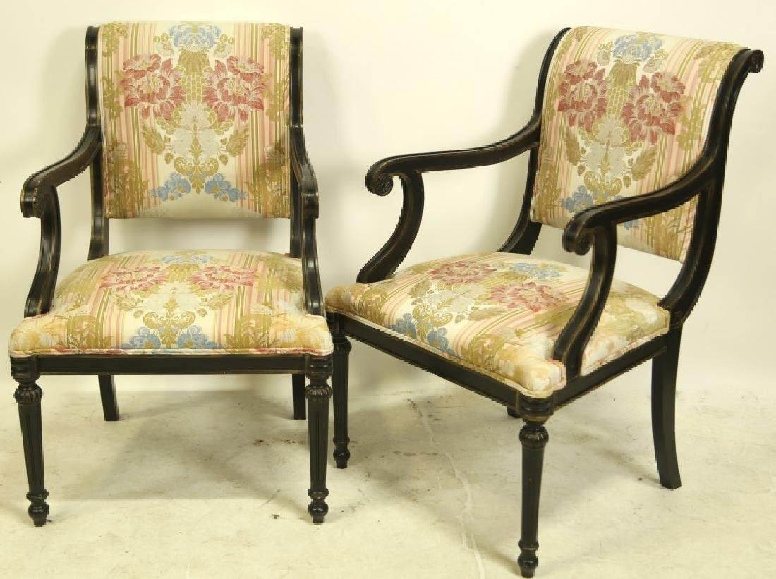 SET OF EIGHT REGENCY STYLE BLACK LACQUER ARMCHAIRS