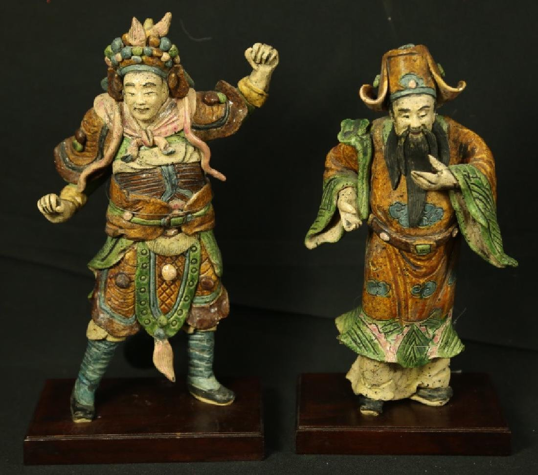 PAIR OF ANTIQUE  TWO GLAZED ROOF TILE FIGURES