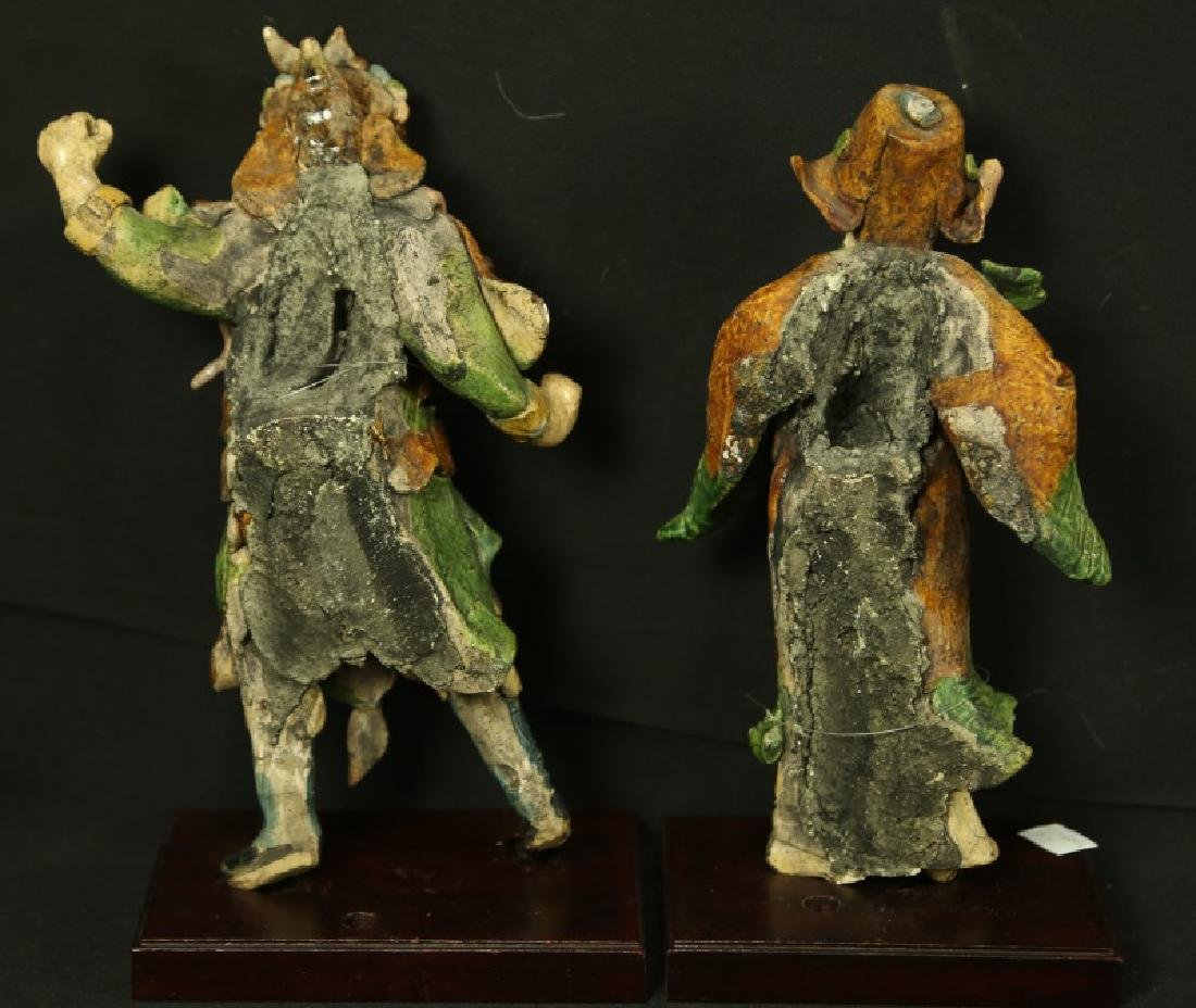 PAIR OF ANTIQUE  TWO GLAZED ROOF TILE FIGURES - 4