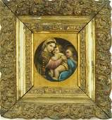 AFTER RAPHAEL 18th C MADONNA AND CHILD OIL PAINTING