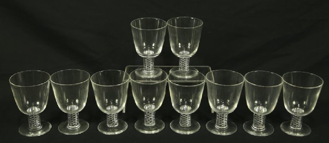 SET OF TEN STEUBEN CRYSTAL WINE GOBLETS
