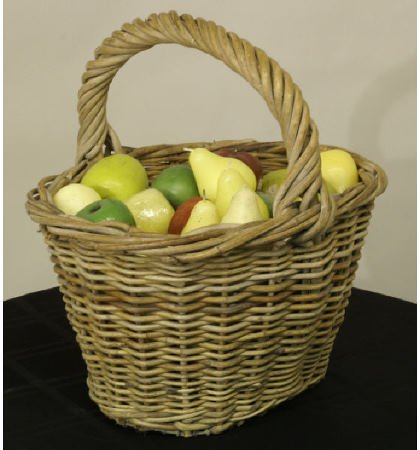 1001: Antique hand woven river willow basket w/candles