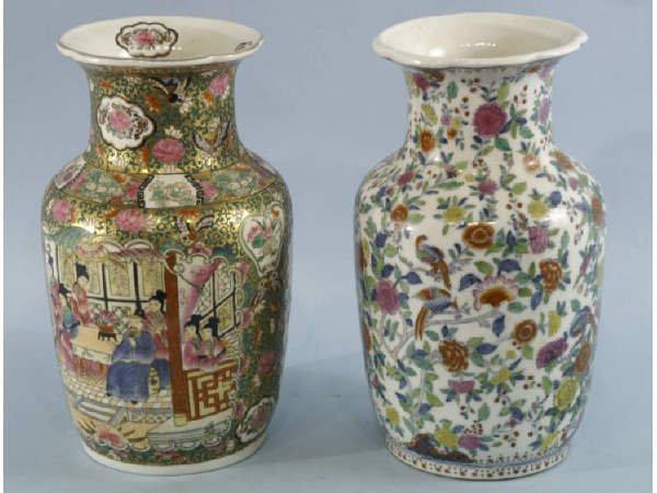 1002: Reproduction Famile Rose & Chinese porcelain vase