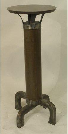 1015: One of a kind artist made pedestal, steel & walnu