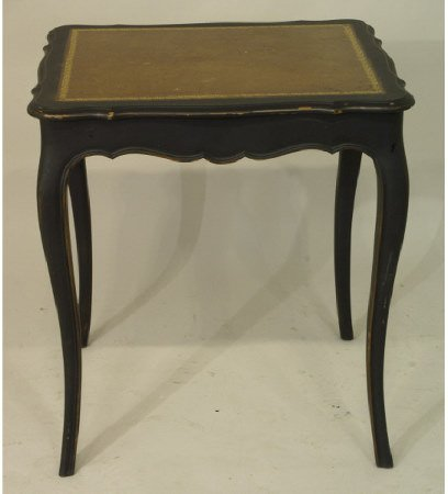 1017: 1940s painted side table with tooled leather top