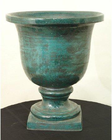 1019: Green-glazed pottery jardinairre
