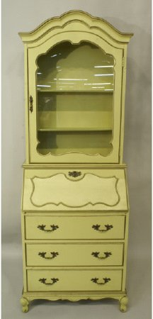 1023: Painted yellow secretary bookcase