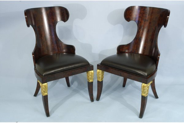 1078: Pair of rosewood and gilt side chairs