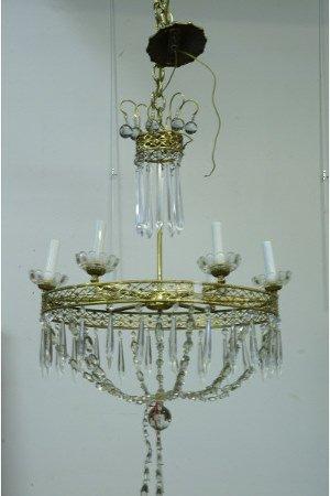1179: Antique brass chandelier with crystal basket.