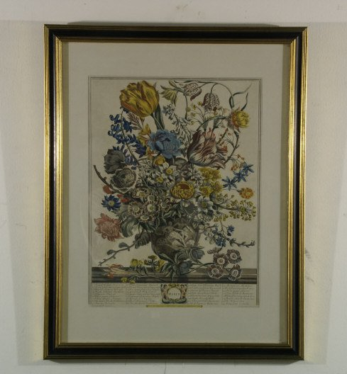 1202: Hand-colored etching of March flowers with