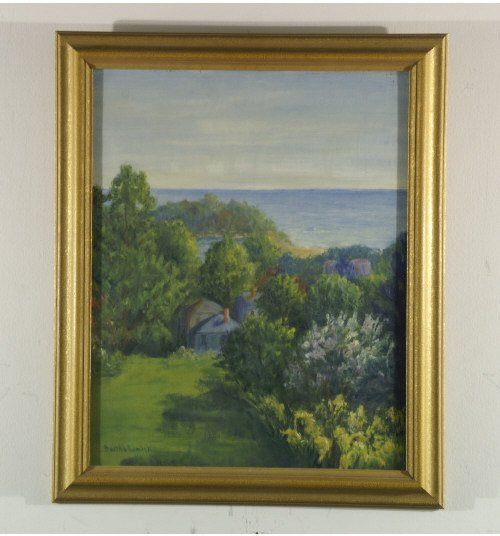 1203: Oil on board of house in forest by the coast