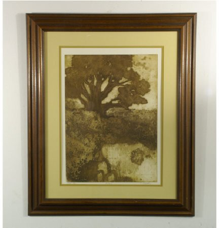 "1204: Print of pond with tree. Signed by ""C. Krisder."""