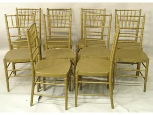 1225: Set of 10 ballroom faux bamboo chairs