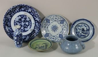 1224: Set of 6 blue and white Chinese pottery pieces