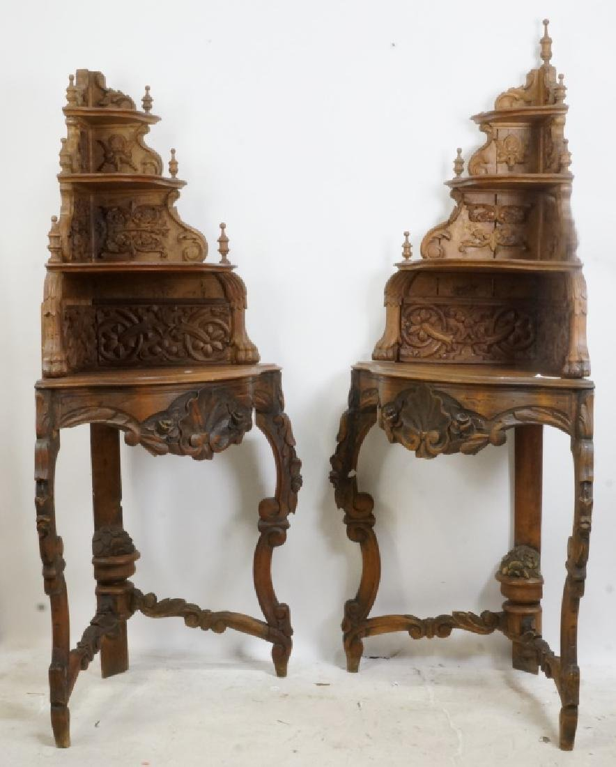 PAIR OF VICTORIAN  CARVED PINE CORNER SHELVES
