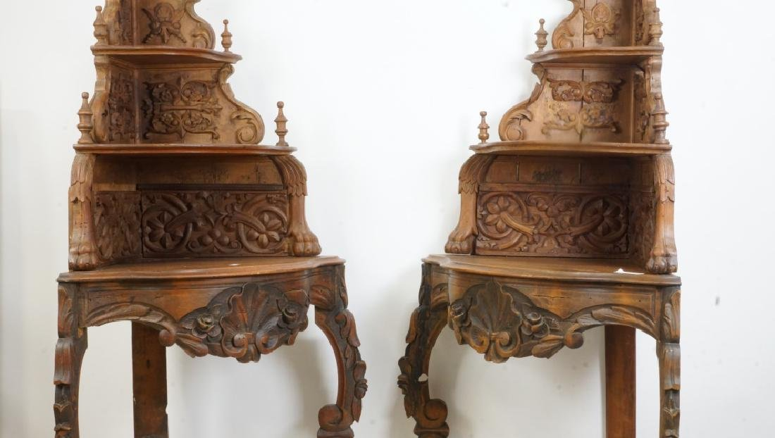 PAIR OF VICTORIAN  CARVED PINE CORNER SHELVES - 2