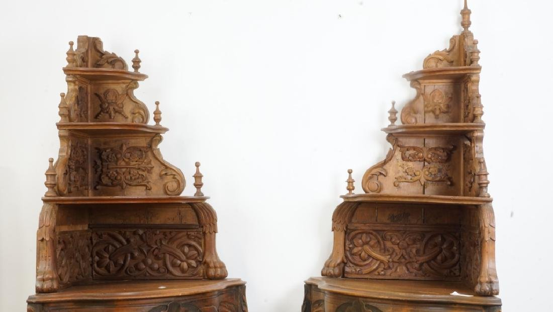 PAIR OF VICTORIAN  CARVED PINE CORNER SHELVES - 3