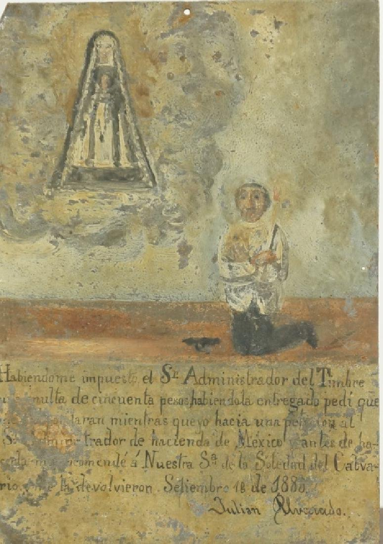 "1888 EX VOTO ""MAN PRAYING TO NUESTRA SR."