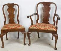 SIX LATE 19th C BURLED WALNUT CHIPPENDALE CHAIRS