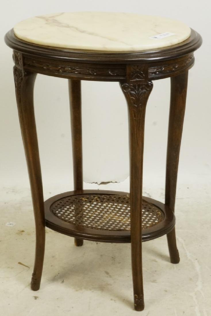 MAHOGANY MARBLE TOP SIDE TABLE