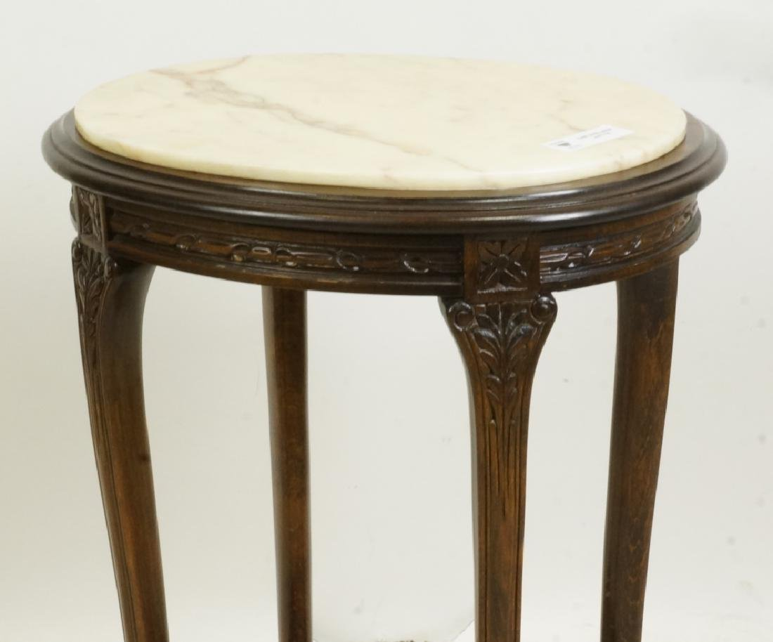 MAHOGANY MARBLE TOP SIDE TABLE - 2